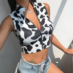 Cow Print Zip Top