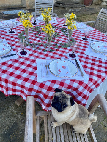 Coral Napkins summer  table setting