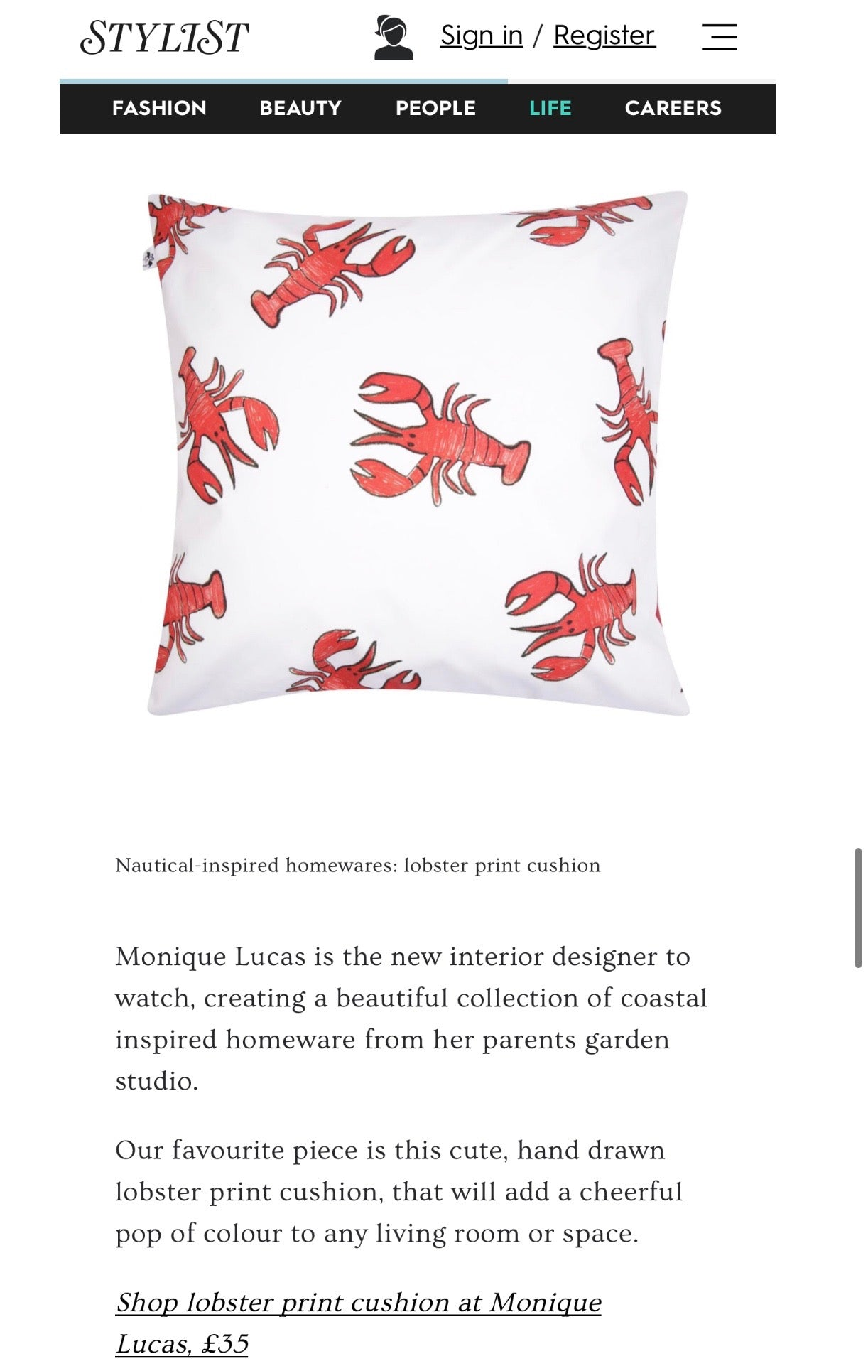 Lobster Cushion in Stylist Magazine