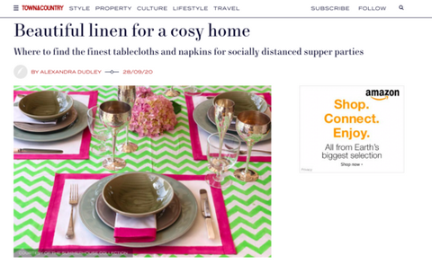 Beautiful Linen for a cosy home article in town and country