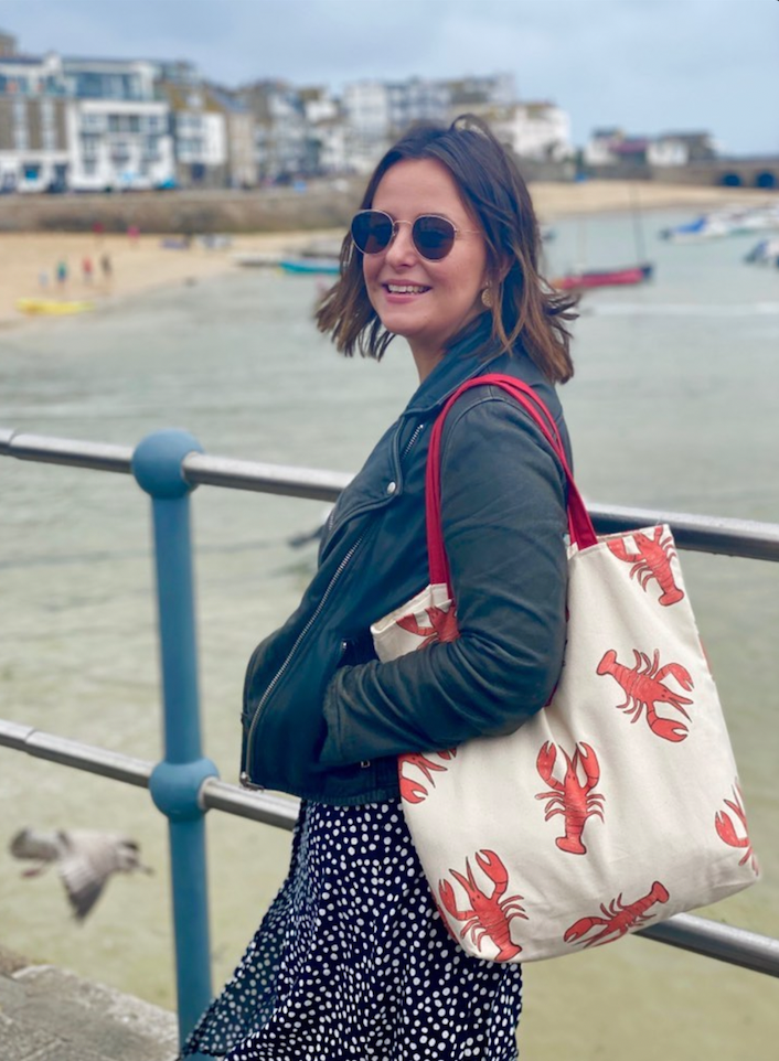 Steph by the sea wears our Lobster Tote Bag