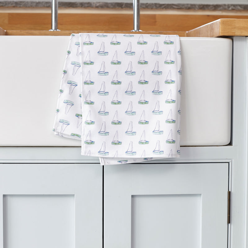 123 splash print Tea Towel over a kitchen sink