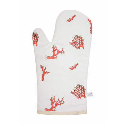 Coral Print Oven Glove on white backround