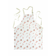 Coral print apron on white backround