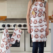 crab print apron , crab print oven glove and crab print tea towel in the kitchen
