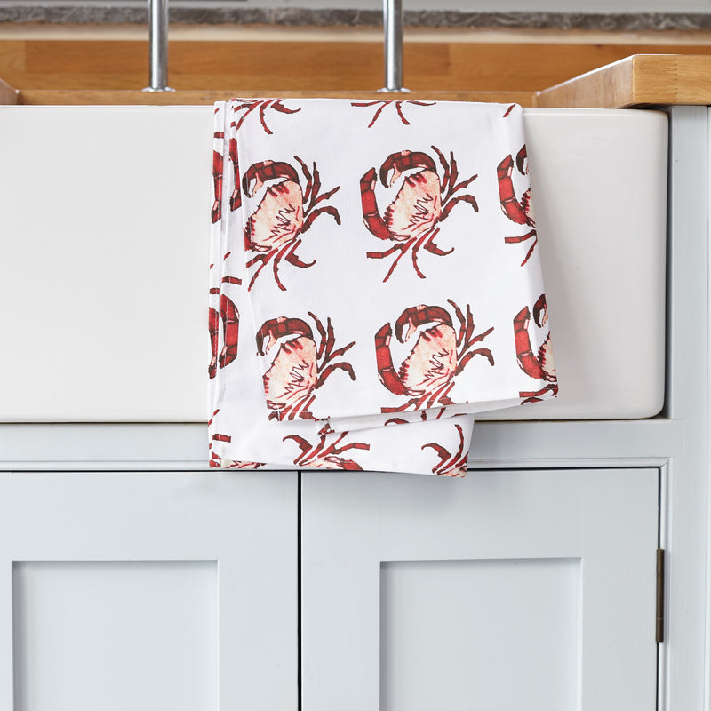 Crab Tea Towel on kitchen sink