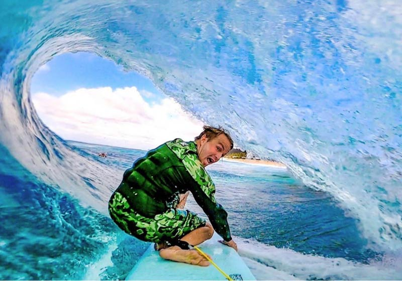 Jamie O'Brien, aka JOB, Pipeline selfie from deep inside the tube.