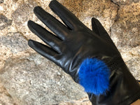 Black soft leather with royal blue Pom Pom