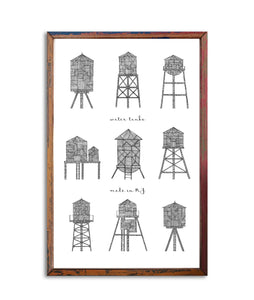 Poster 9 Water Towers made in NY | Art Print 11x17"