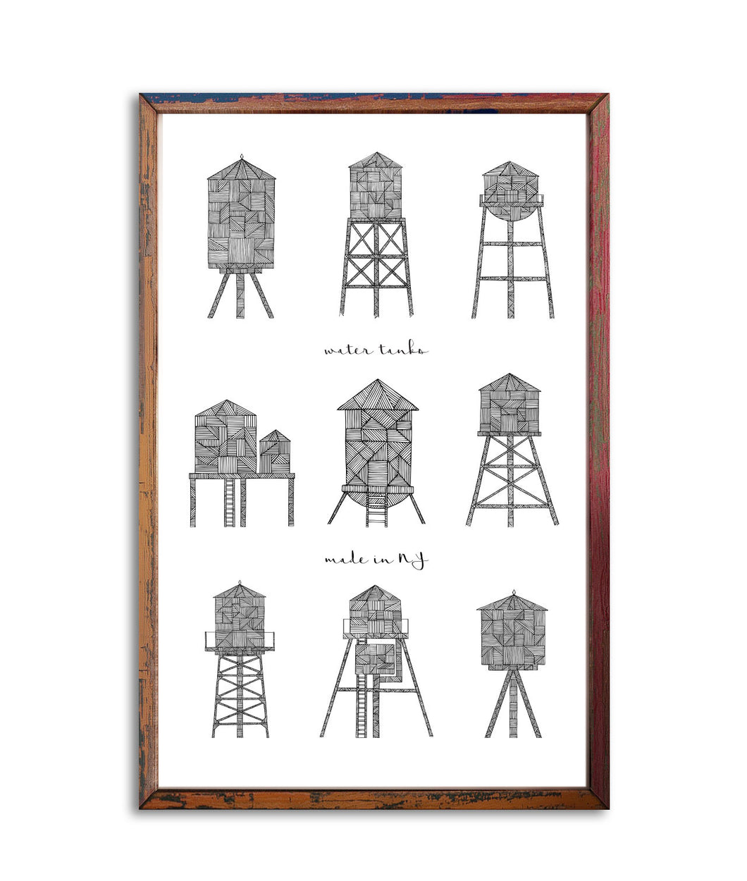 Poster 9 Water Towers made in NY | Art Print 11x17