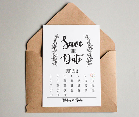 Rustic Wreath Save the Date Calendar Cards for Weddings - DesignsbyZal