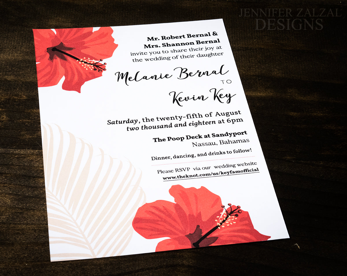 Tropical Palm Wedding Invitations - DesignsbyZal
