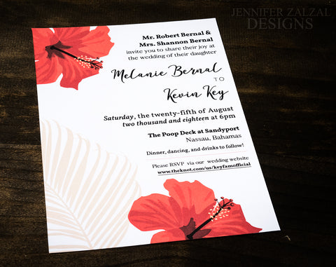 Tropical Wedding Invitation Suite | Printed & Personalized - DesignsbyZal