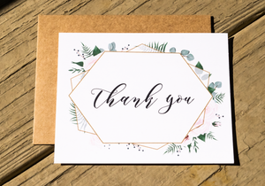 Rustic Geometric Greenery Thank You Note Card Set