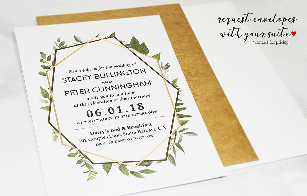 Gold Geometric Eucalyptus Greenery Wedding Invitations - DesignsbyZal
