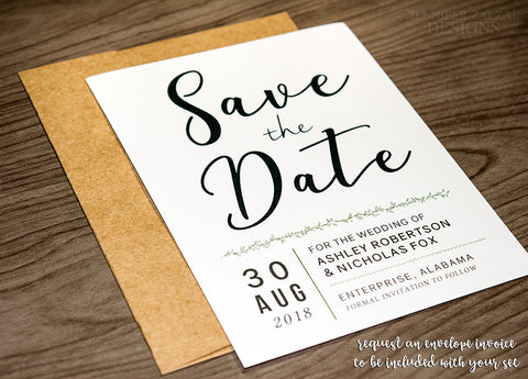 Simple Modern Save the Date Card for Weddings - DesignsbyZal