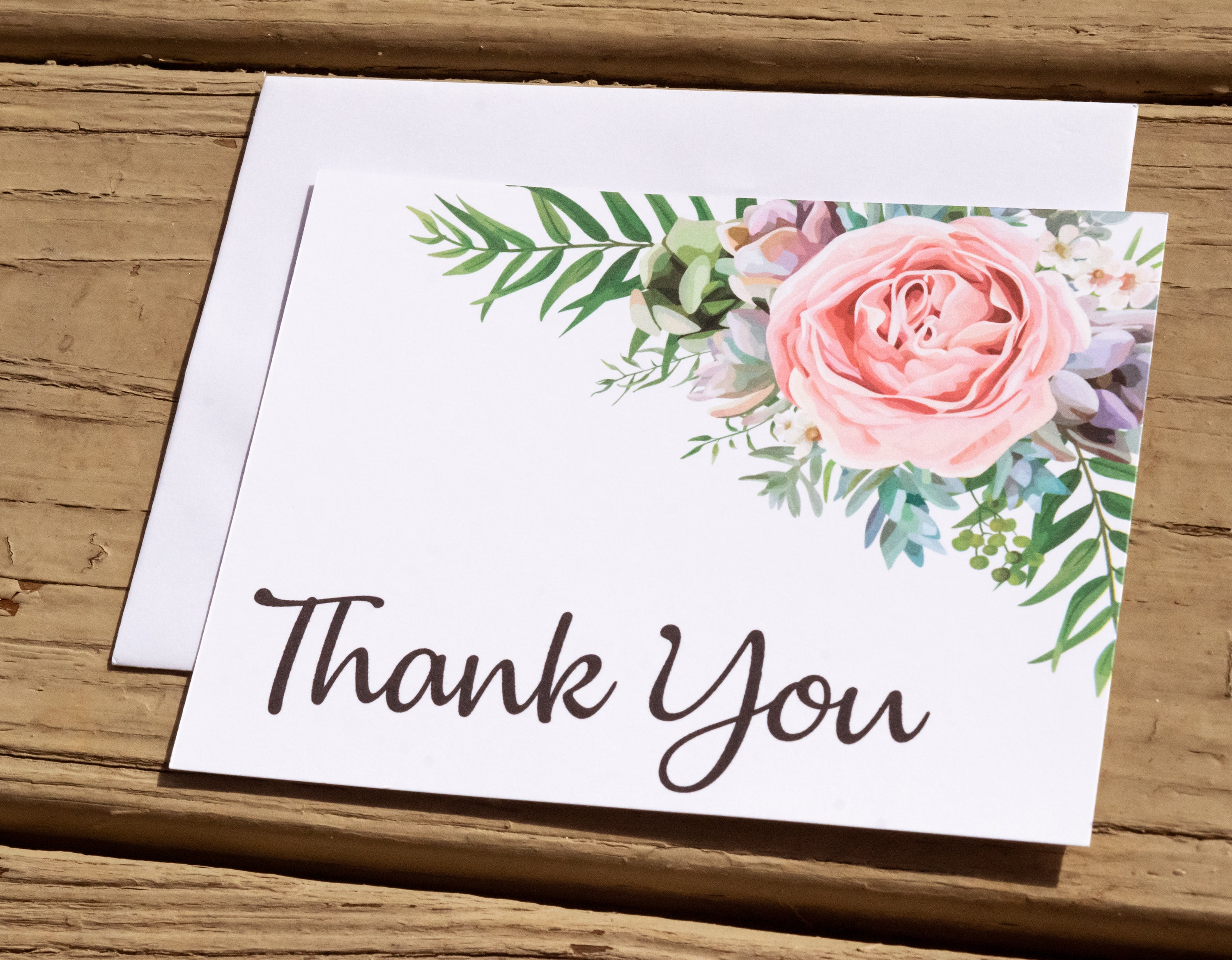 Blush Pink Floral Thank You Note Card Set