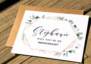 Rustic Geometric Wedding Party Proposal Card | Personalized Wedding Cards