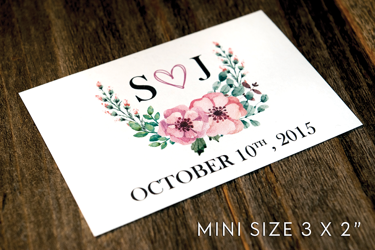 Floral Wedding Wine Bottle Labels | Standard & Mini Sizes Available - DesignsbyZal