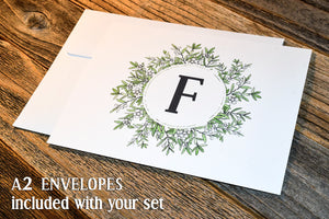 Monogram Notecard Set. Wedding Notecards. Greenery Thank You Notecard Set. Wedding Notecard. Rustic Note Cards. Personal Notecard.