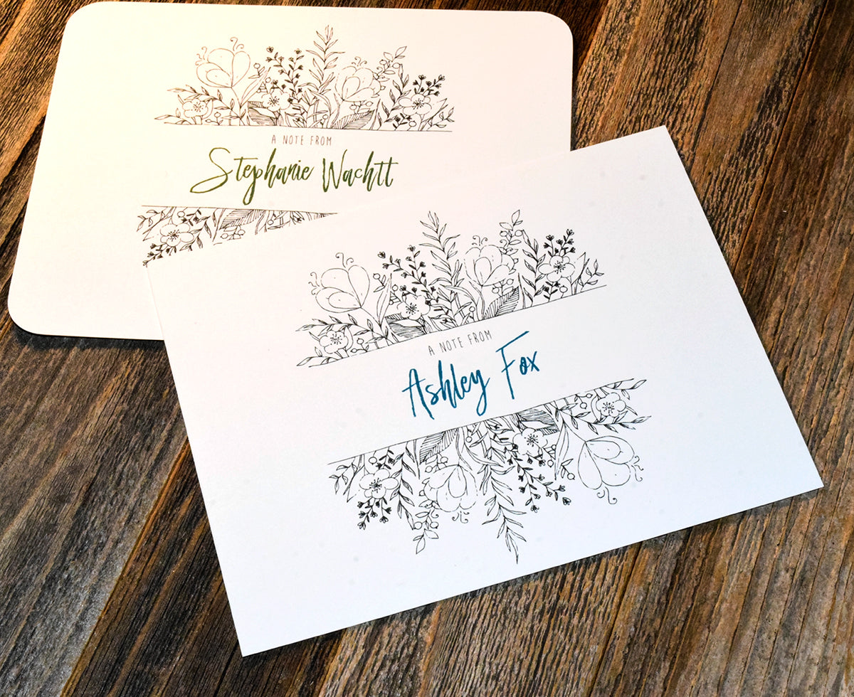 Personalized Name/Message Note Card Set for Weddings & Personal Stationary