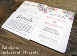 Floral Boho Wedding Invitation Suite | Printed & Personalized - DesignsbyZal