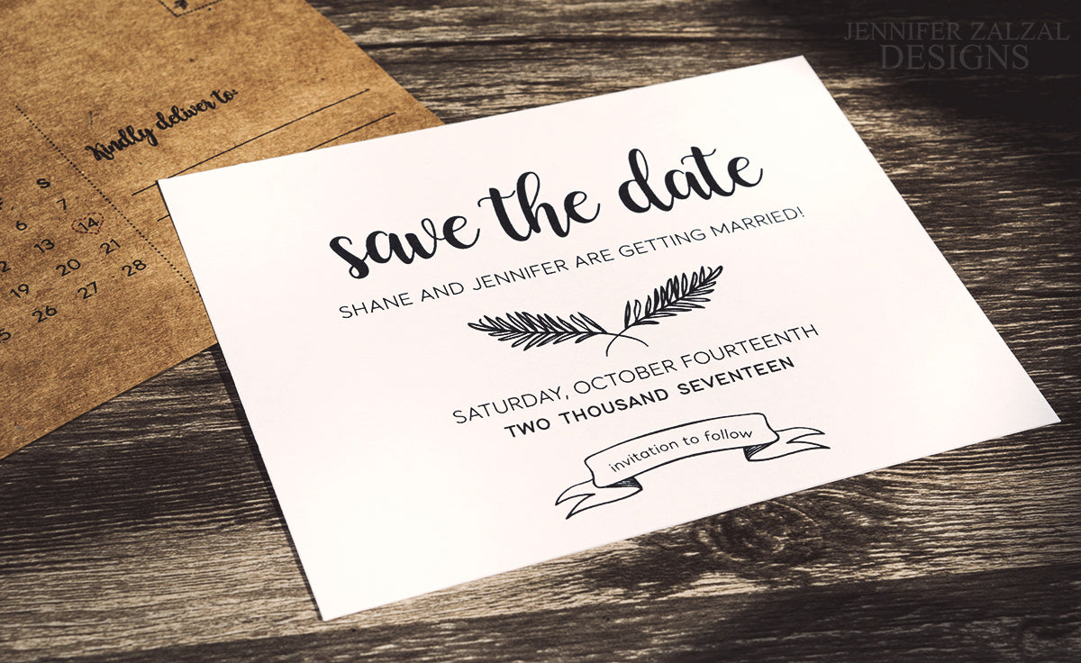 Rustic Save the Date Postcard Announcement - DesignsbyZal