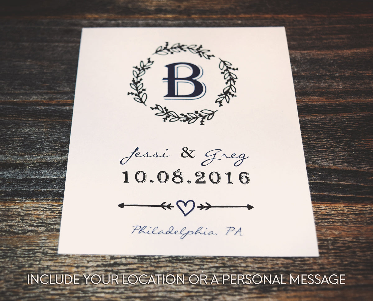 Rustic Monogram Wedding Wine Bottle Labels | Personalized & Printed - DesignsbyZal