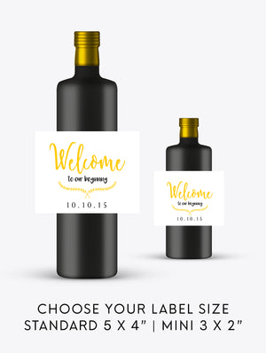 Welcome to Our Beginning Wedding Wine Labels | Standard & Mini Sizes Available - DesignsbyZal