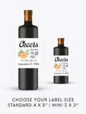 Cheers Wedding Wine Labels | Standard & Mini Personalized Wine Bottle Labels - DesignsbyZal