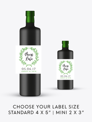 Cheers to Love Wedding Wine Bottle Labels | Standard & Mini Sizes Available - DesignsbyZal