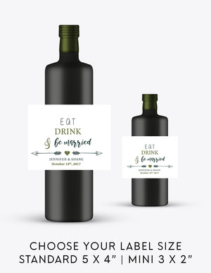 Eat Drink & Be Married Wedding Wine Bottle Labels | Standard & Mini Sizes Available - DesignsbyZal