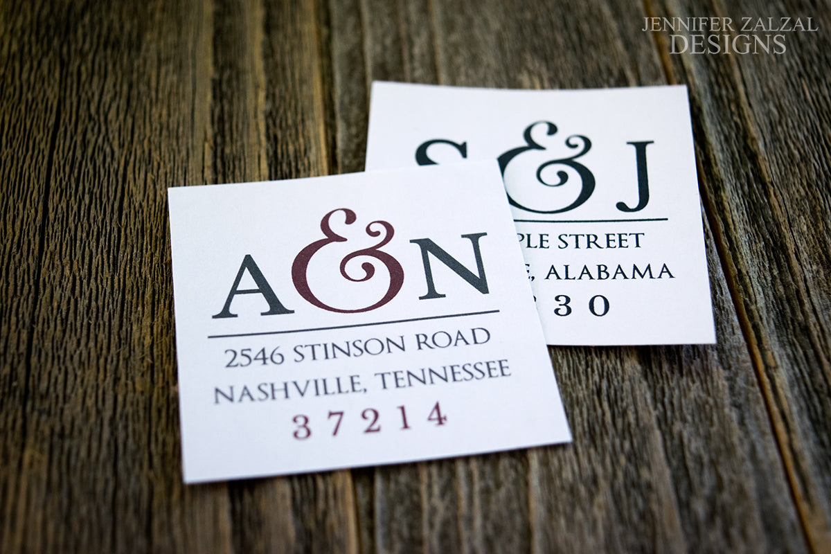 Wedding Monogram Return Address Labels