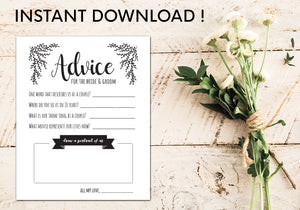 Advice Cards for the Bride and Groom | Digital Template