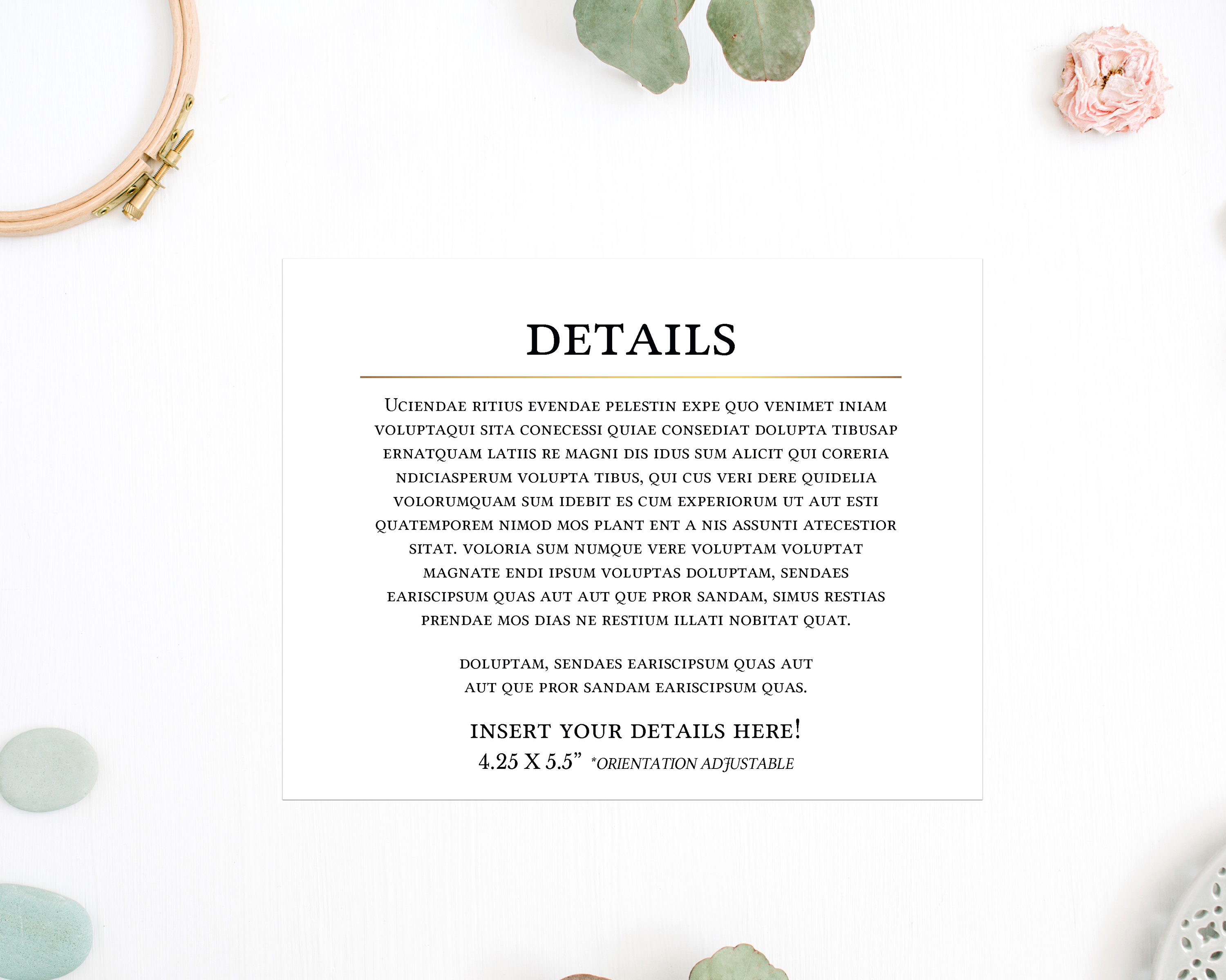 Gold Geometric Eucalyptus Greenery Wedding Invitation Template