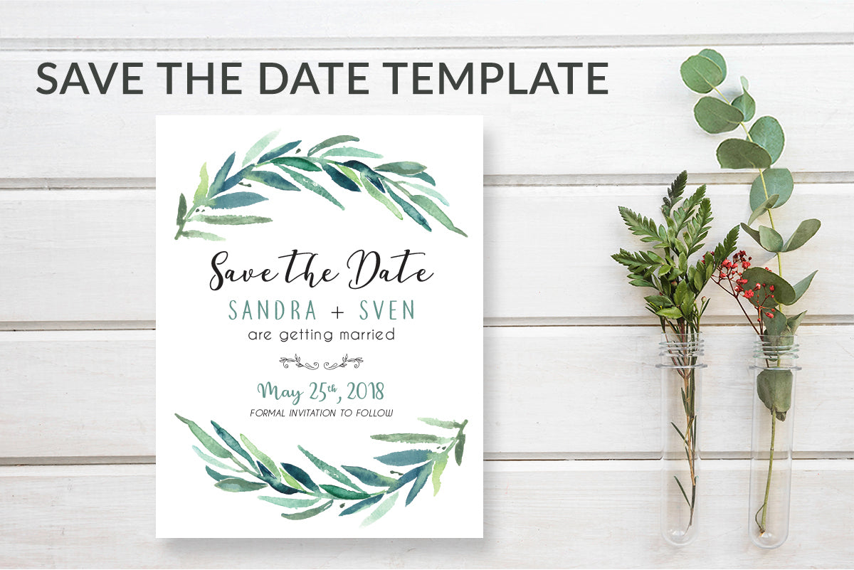 Rustic Greenery Wreath Save the Date Card Template - DesignsbyZal