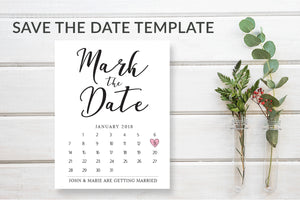 Mark the Date Calendar Card Template - DesignsbyZal