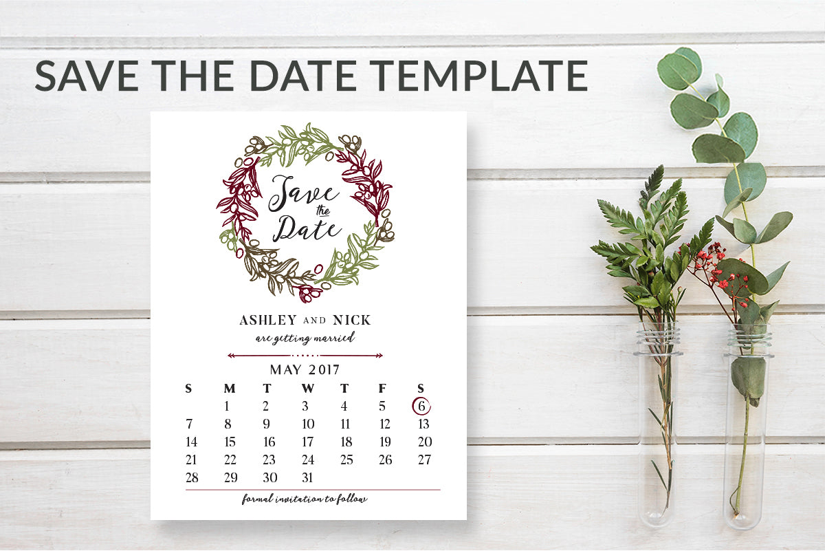 Rustic Wreath Save the Date Calendar Card Template - DesignsbyZal