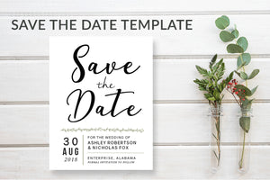 Simple Modern Save the Date Card Template - DesignsbyZal