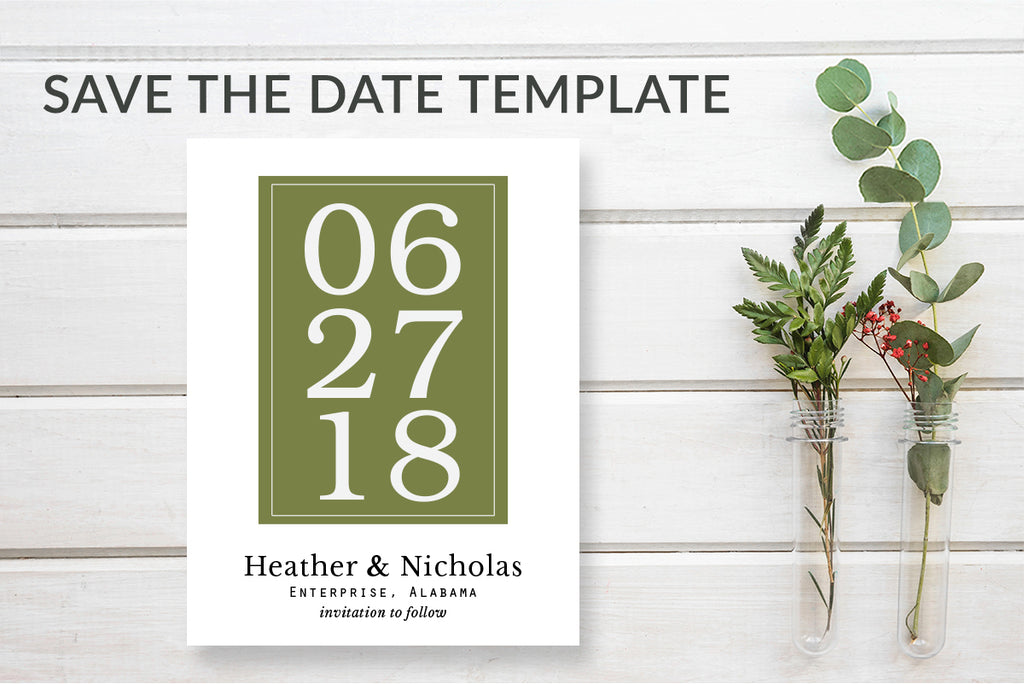 Modern Save the Date Card Template - DesignsbyZal