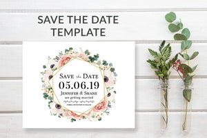 Boho Floral Save the Date Card Template - DesignsbyZal