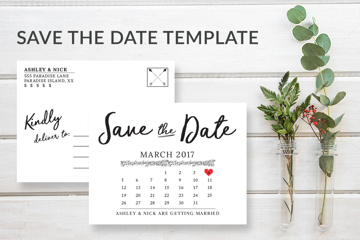 Rustic Save the Date Calendar Postcard Announcement Template - DesignsbyZal