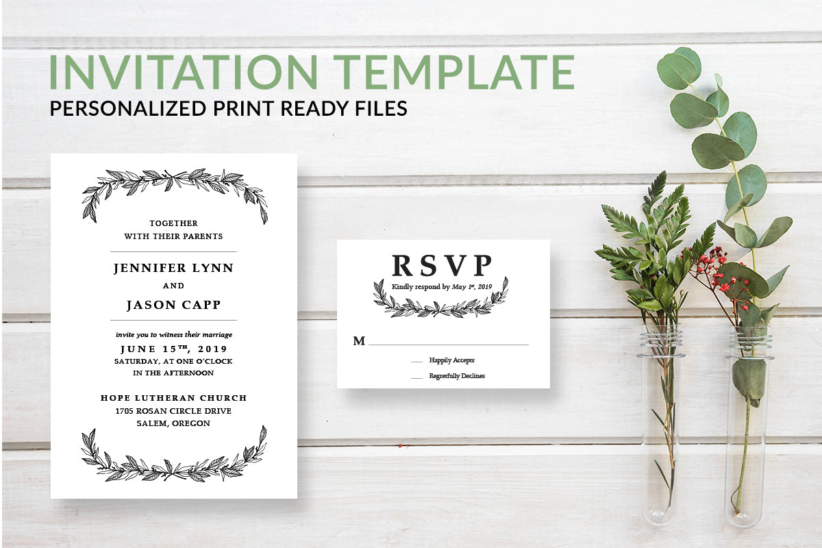 Rustic Wreath Wedding Invitation Template - DesignsbyZal