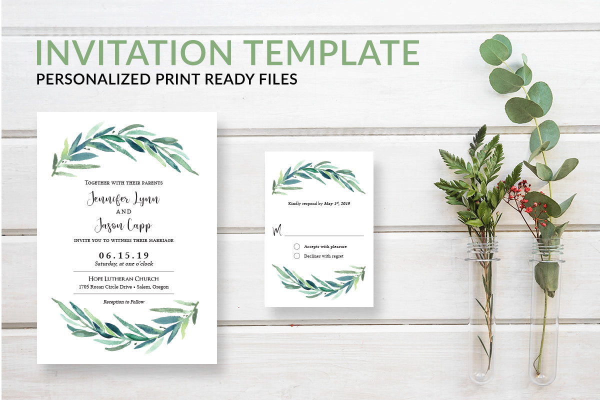 Rustic Greenery Wreath Wedding Invitation Template - DesignsbyZal