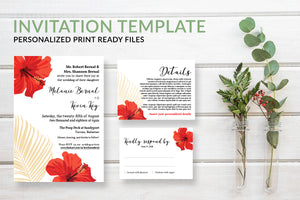 Tropical Palm Wedding Invitation Template - DesignsbyZal