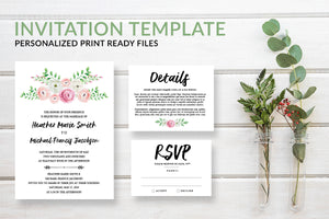 Pink Floral Boho Wedding Invitation Template - DesignsbyZal