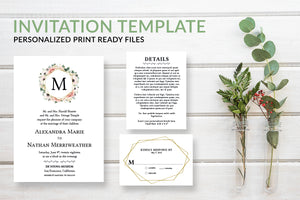Pink Floral Monogram Wedding Invitation Template - DesignsbyZal