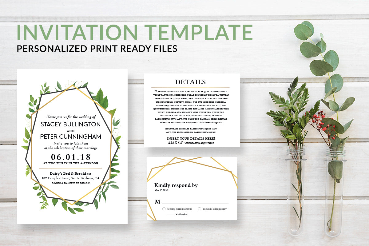 Gold Geometric Eucalyptus Greenery Wedding Invitation Template - DesignsbyZal