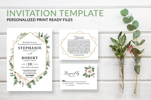 Geometric Greenery Wedding Invitation Template