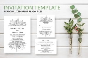 Simple Rustic Wreath Wedding Invitation Template